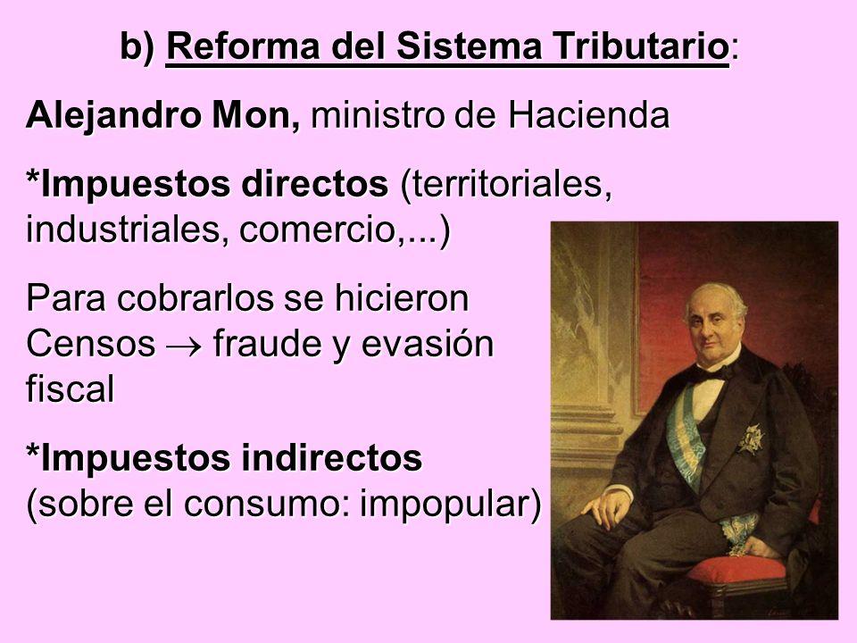 b) Reforma del Sistema Tributario: Alejandro Mon, ministro de Hacienda *Impuestos directos (territoriales, industriales, comercio,...) Para cobrarlos