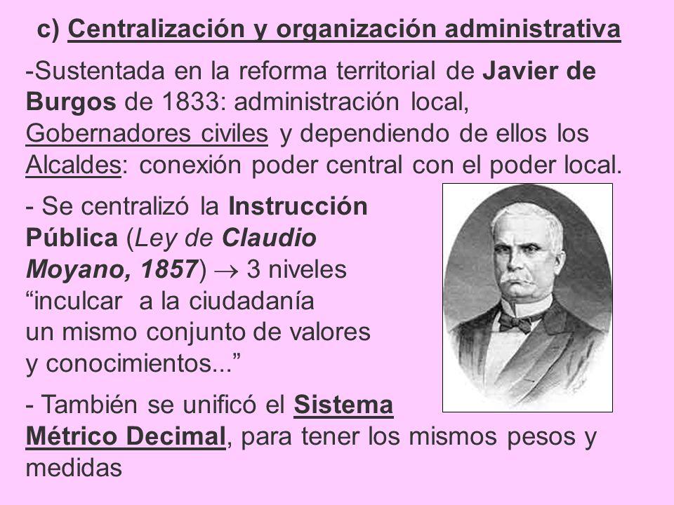 c) Centralización y organización administrativa -Sustentada en la reforma territorial de Javier de Burgos de 1833: administración local, Gobernadores