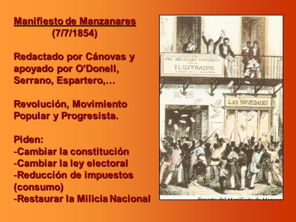 Manifiesto de Manzanares (7/7/1854) (7/7/1854) Redactado por Cánovas y apoyado por ODonell, Serrano, Espartero,… Revolución, Movimiento Popular y Prog