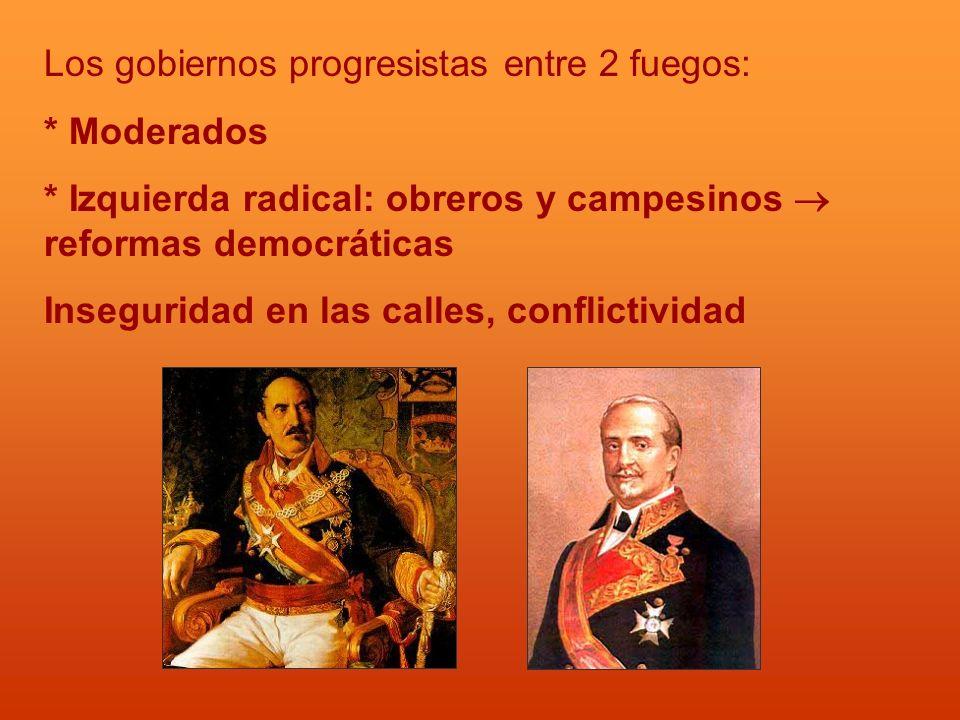 Los gobiernos progresistas entre 2 fuegos: * Moderados * Izquierda radical: obreros y campesinos reformas democráticas Inseguridad en las calles, conf