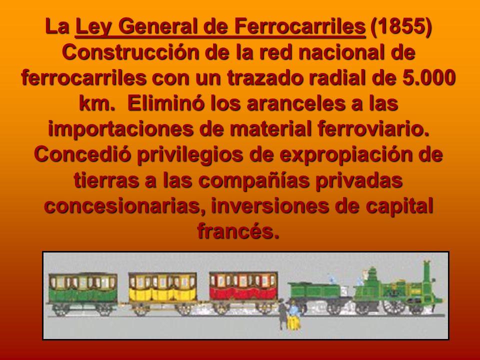 La Ley General de Ferrocarriles (1855) Construcción de la red nacional de ferrocarriles con un trazado radial de 5.000 km. Eliminó los aranceles a las