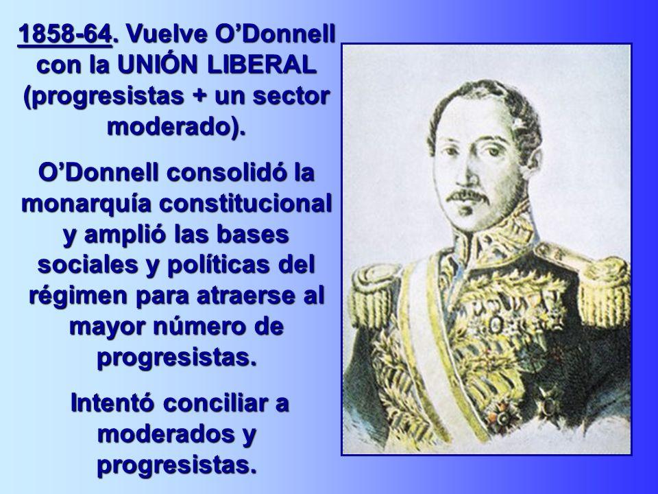 1858-64. Vuelve ODonnell con la UNIÓN LIBERAL (progresistas + un sector moderado). ODonnell consolidó la monarquía constitucional y amplió las bases s