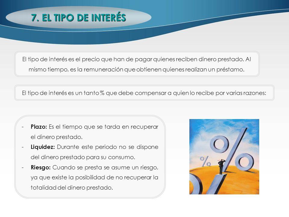 7. EL TIPO DE INTERÉS El tipo de interés es el precio que han de pagar quienes reciben dinero prestado. Al mismo tiempo, es la remuneración que obtien