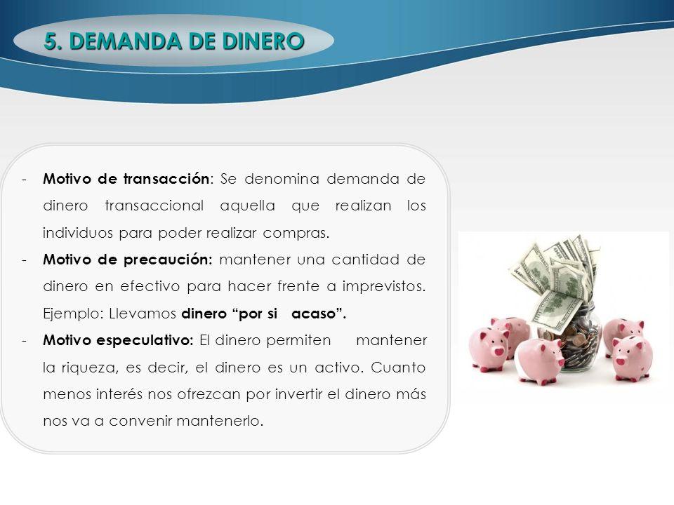 - Motivo de transacción : Se denomina demanda de dinero transaccional aquella que realizan los individuos para poder realizar compras. - Motivo de pre
