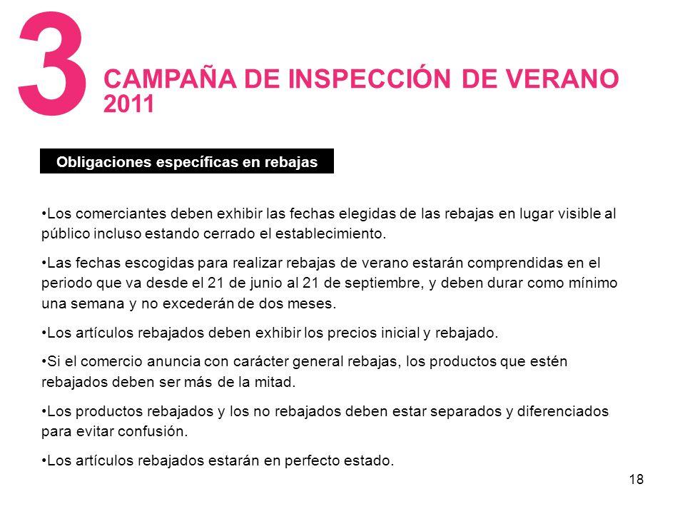 18 CAMPAÑA DE INSPECCIÓN DE VERANO 2011 3 Los comerciantes deben exhibir las fechas elegidas de las rebajas en lugar visible al público incluso estando cerrado el establecimiento.