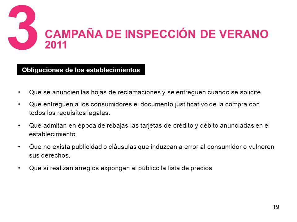 19 CAMPAÑA DE INSPECCIÓN DE VERANO 2011 3 Obligaciones de los establecimientos Que se anuncien las hojas de reclamaciones y se entreguen cuando se solicite.