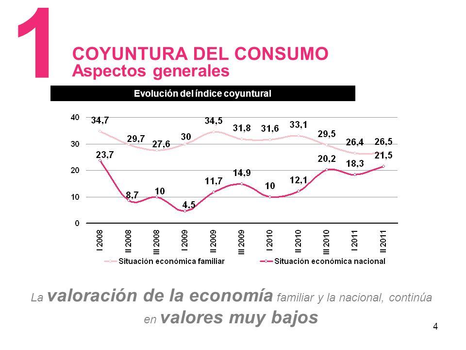 4 COYUNTURA DEL CONSUMO Aspectos generales 1 Evolución del índice coyuntural La valoración de la economía familiar y la nacional, continúa en valores muy bajos Evolución del índice coyuntural