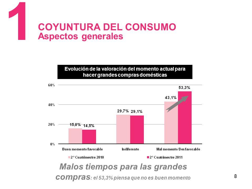 8 COYUNTURA DEL CONSUMO Aspectos generales 1 Evolución de la valoración del momento actual para hacer grandes compras domésticas Malos tiempos para las grandes compras : el 53,3% piensa que no es buen momento