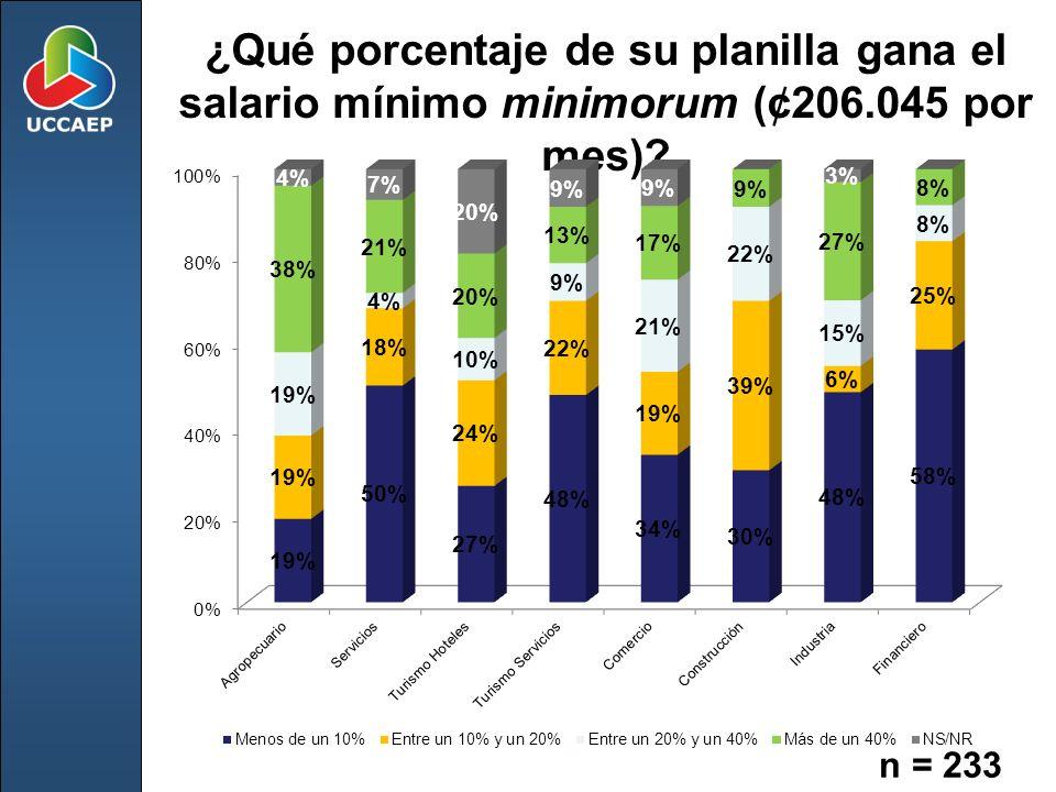 ¿Qué porcentaje de su planilla gana el salario mínimo minimorum (¢206.045 por mes)? n = 233
