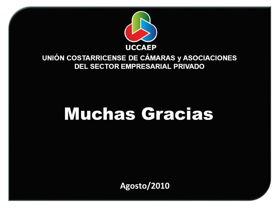 UNIÓN COSTARRICENSE DE CÁMARAS y ASOCIACIONES DEL SECTOR EMPRESARIAL PRIVADO Muchas Gracias Agosto/2010