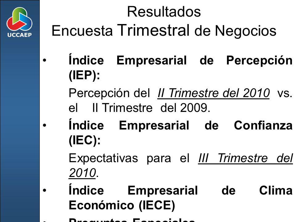 Resultados Encuesta Trimestral de Negocios Índice Empresarial de Percepción (IEP): Percepción del II Trimestre del 2010 vs. el II Trimestre del 2009.