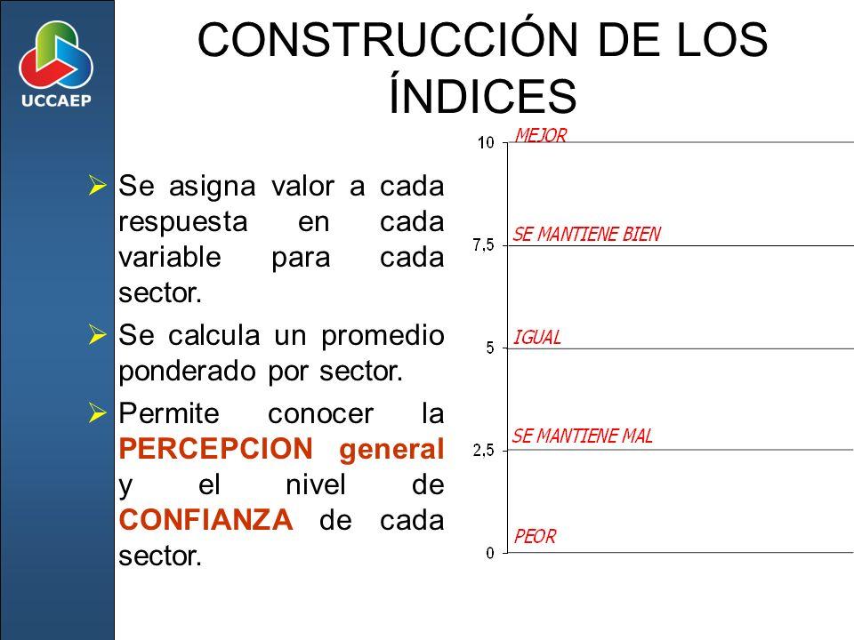 CONSTRUCCIÓN DE LOS ÍNDICES Se asigna valor a cada respuesta en cada variable para cada sector. Se calcula un promedio ponderado por sector. Permite c