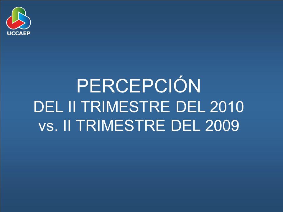 PERCEPCIÓN DEL II TRIMESTRE DEL 2010 vs. II TRIMESTRE DEL 2009
