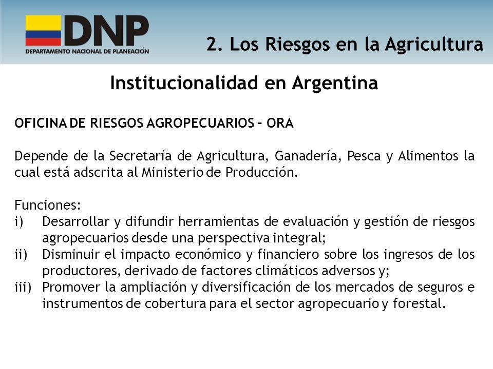 Institucionalidad en Argentina OFICINA DE RIESGOS AGROPECUARIOS – ORA Depende de la Secretaría de Agricultura, Ganadería, Pesca y Alimentos la cual es