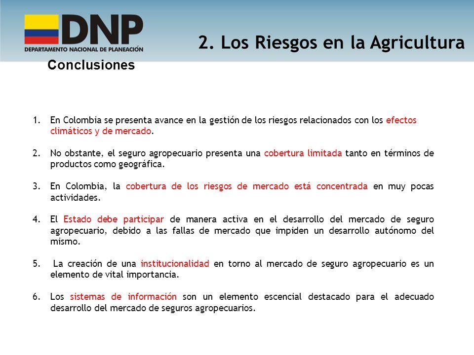 1.En Colombia se presenta avance en la gestión de los riesgos relacionados con los efectos climáticos y de mercado. 2.No obstante, el seguro agropecua