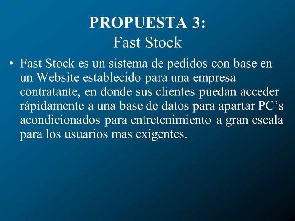 PROPUESTA 3: Fast Stock Fast Stock es un sistema de pedidos con base en un Website establecido para una empresa contratante, en donde sus clientes pue