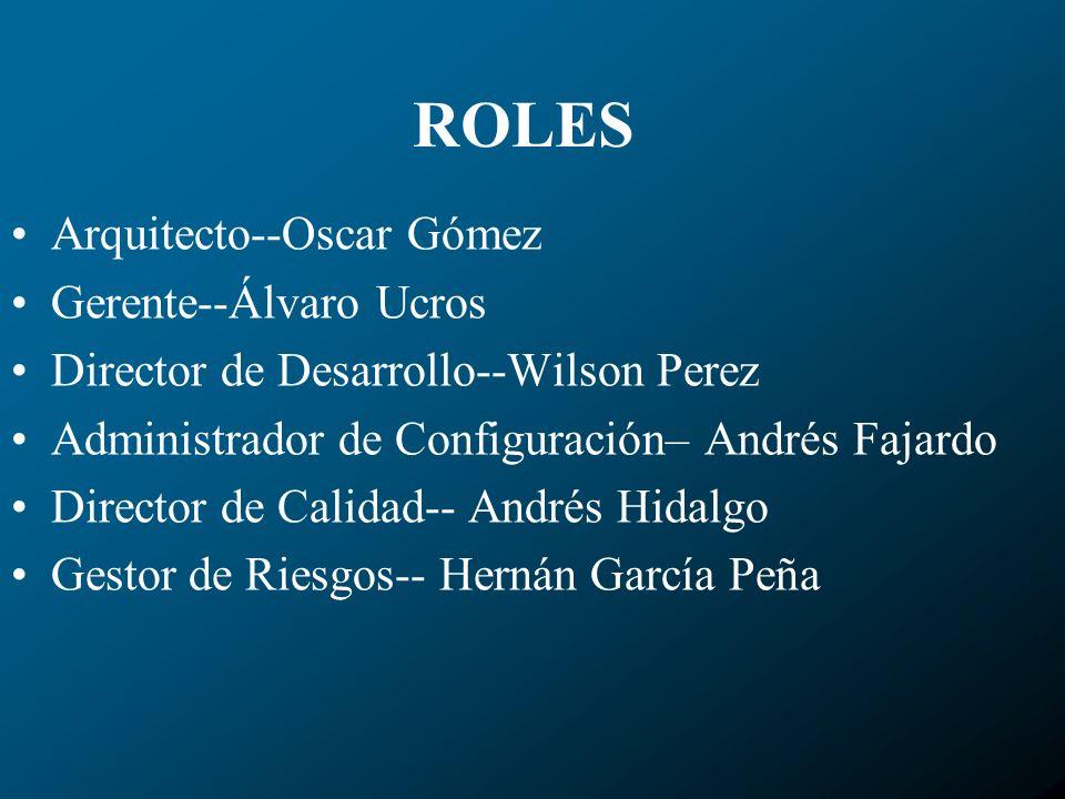 ROLES Arquitecto--Oscar Gómez Gerente--Álvaro Ucros Director de Desarrollo--Wilson Perez Administrador de Configuración– Andrés Fajardo Director de Ca