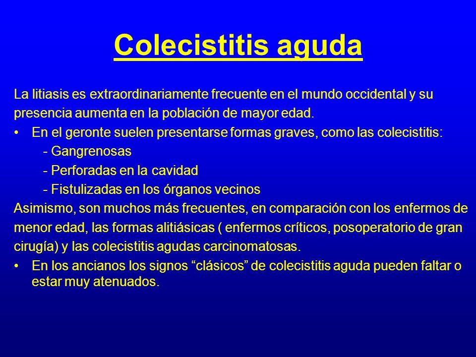 Colecistitis aguda La litiasis es extraordinariamente frecuente en el mundo occidental y su presencia aumenta en la población de mayor edad. En el ger