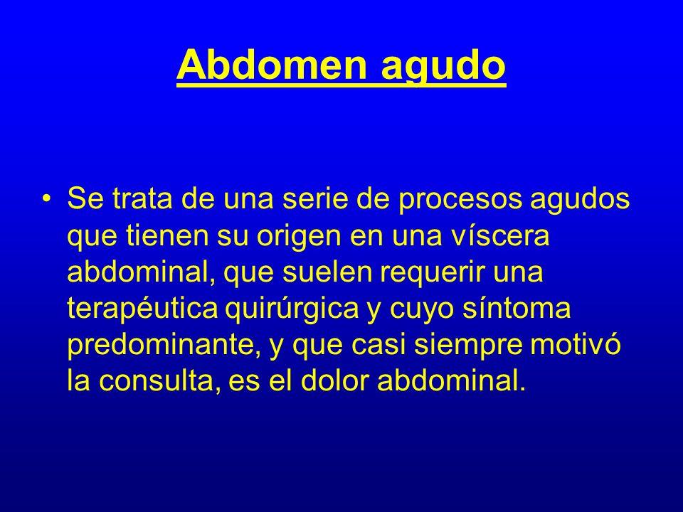 Abdomen agudo Se trata de una serie de procesos agudos que tienen su origen en una víscera abdominal, que suelen requerir una terapéutica quirúrgica y