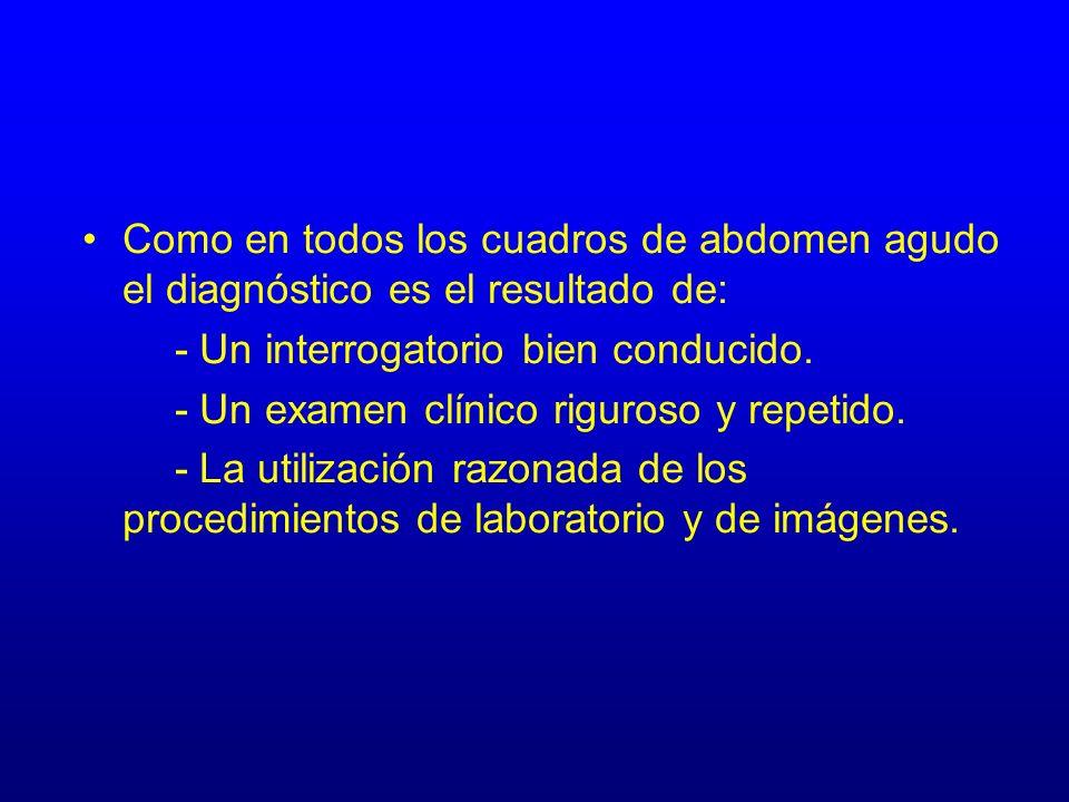 Como en todos los cuadros de abdomen agudo el diagnóstico es el resultado de: - Un interrogatorio bien conducido. - Un examen clínico riguroso y repet