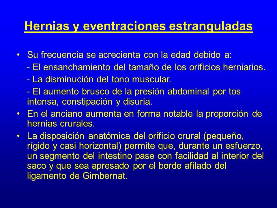 Hernias y eventraciones estranguladas Su frecuencia se acrecienta con la edad debido a: - El ensanchamiento del tamaño de los orificios herniarios. -
