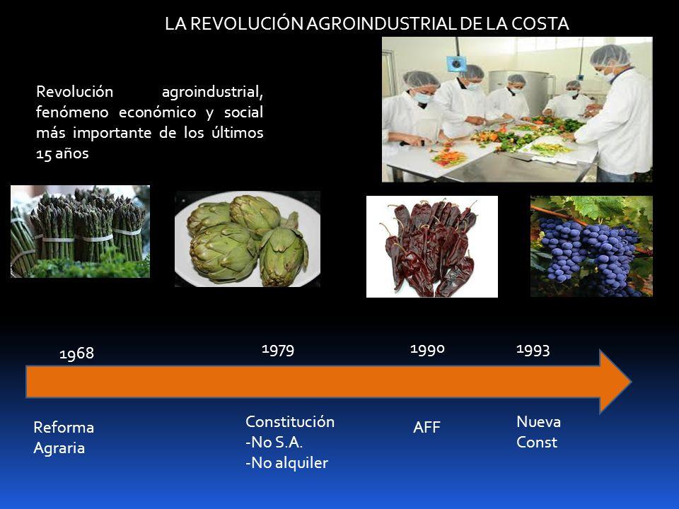 LA REVOLUCIÓN AGROINDUSTRIAL DE LA COSTA Revolución agroindustrial, fenómeno económico y social más importante de los últimos 15 años 1968 Reforma Agr