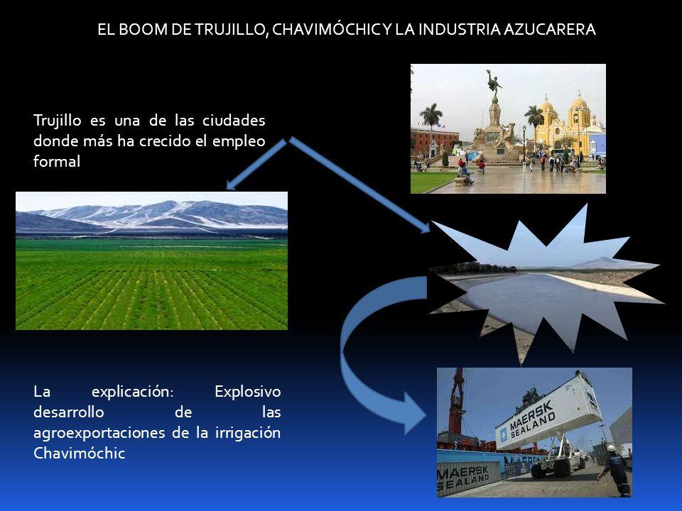 EL BOOM DE TRUJILLO, CHAVIMÓCHIC Y LA INDUSTRIA AZUCARERA Trujillo es una de las ciudades donde más ha crecido el empleo formal La explicación: Explos