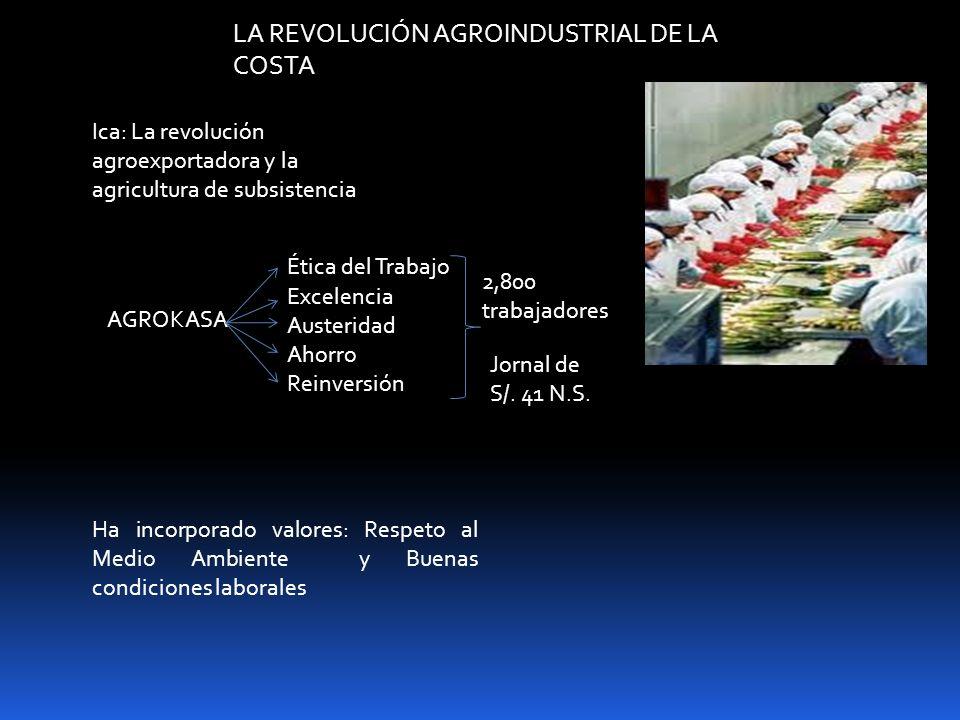 LA REVOLUCIÓN AGROINDUSTRIAL DE LA COSTA Ica: La revolución agroexportadora y la agricultura de subsistencia Ha incorporado valores: Respeto al Medio