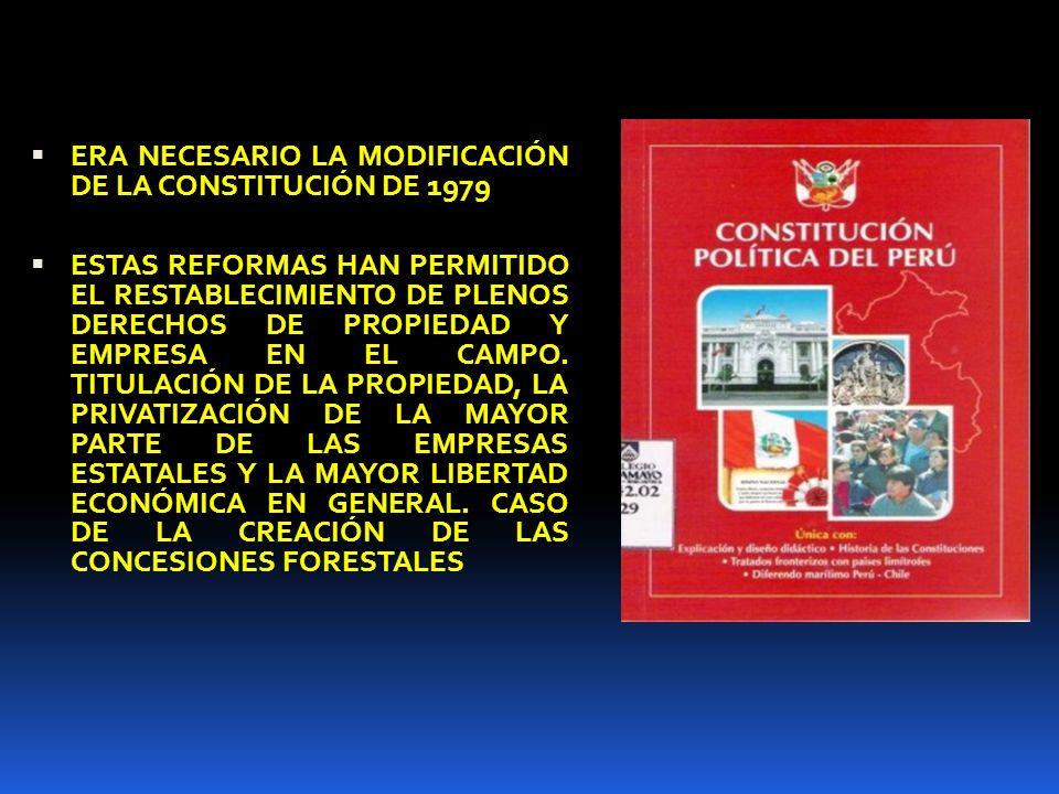 ERA NECESARIO LA MODIFICACIÓN DE LA CONSTITUCIÓN DE 1979 ESTAS REFORMAS HAN PERMITIDO EL RESTABLECIMIENTO DE PLENOS DERECHOS DE PROPIEDAD Y EMPRESA EN