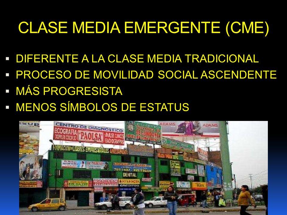 CLASE MEDIA EMERGENTE (CME) DIFERENTE A LA CLASE MEDIA TRADICIONAL PROCESO DE MOVILIDAD SOCIAL ASCENDENTE MÁS PROGRESISTA MENOS SÍMBOLOS DE ESTATUS