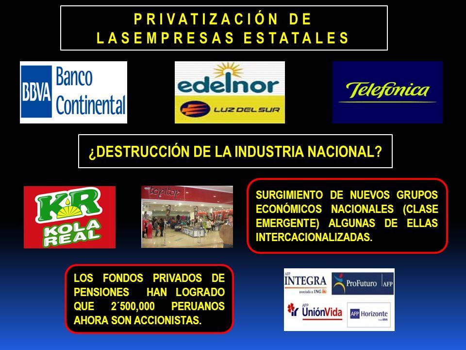 SURGIMIENTO DE NUEVOS GRUPOS ECONÓMICOS NACIONALES (CLASE EMERGENTE) ALGUNAS DE ELLAS INTERCACIONALIZADAS. LOS FONDOS PRIVADOS DE PENSIONES HAN LOGRAD