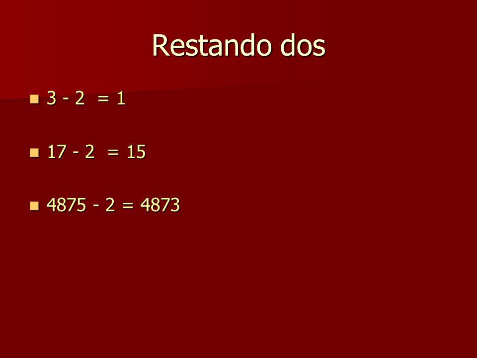 Restando dos 3 - 2 = 1 3 - 2 = 1 17 - 2 = 15 17 - 2 = 15 4875 - 2 = 4873 4875 - 2 = 4873