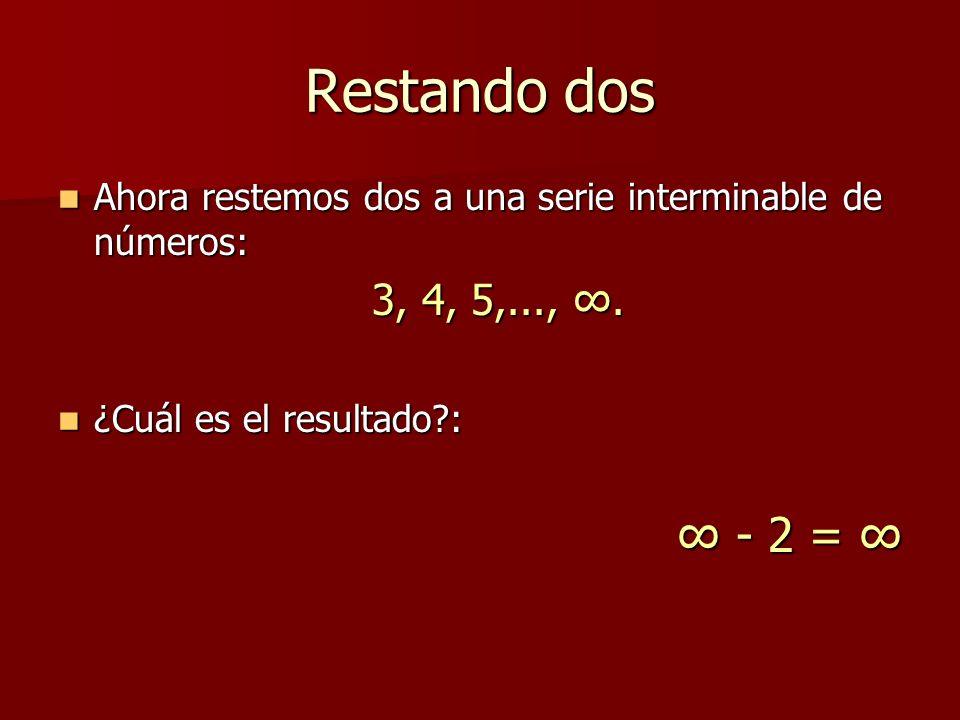 Restando dos Ahora restemos dos a una serie interminable de números: Ahora restemos dos a una serie interminable de números: 3, 4, 5,...,. ¿Cuál es el