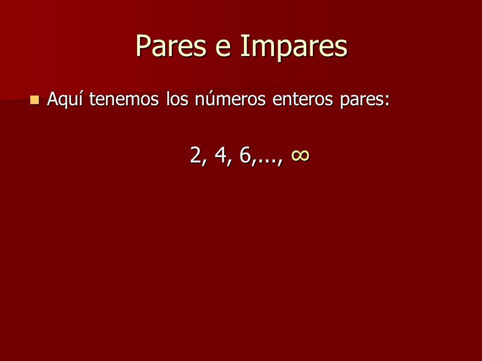Pares e Impares Aquí tenemos los números enteros pares: Aquí tenemos los números enteros pares: 2, 4, 6,..., 2, 4, 6,...,