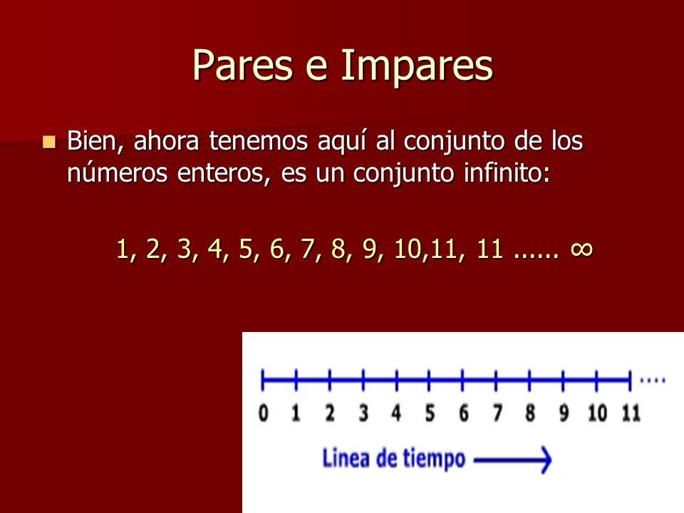 Pares e Impares Bien, ahora tenemos aquí al conjunto de los números enteros, es un conjunto infinito: Bien, ahora tenemos aquí al conjunto de los núme