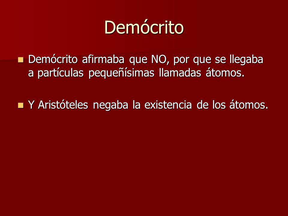 Demócrito Demócrito afirmaba que NO, por que se llegaba a partículas pequeñísimas llamadas átomos. Demócrito afirmaba que NO, por que se llegaba a par