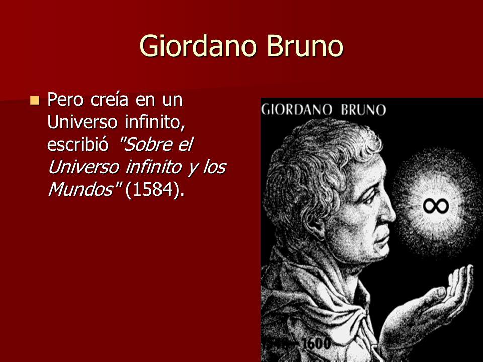 Giordano Bruno Pero creía en un Universo infinito, escribió