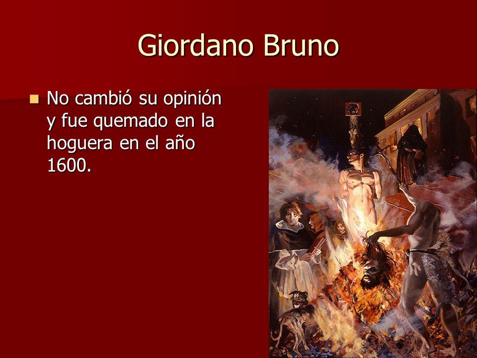 Giordano Bruno No cambió su opinión y fue quemado en la hoguera en el año 1600. No cambió su opinión y fue quemado en la hoguera en el año 1600.