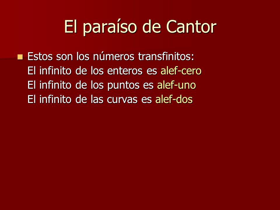 El paraíso de Cantor Estos son los números transfinitos: Estos son los números transfinitos: El infinito de los enteros es alef-cero El infinito de lo