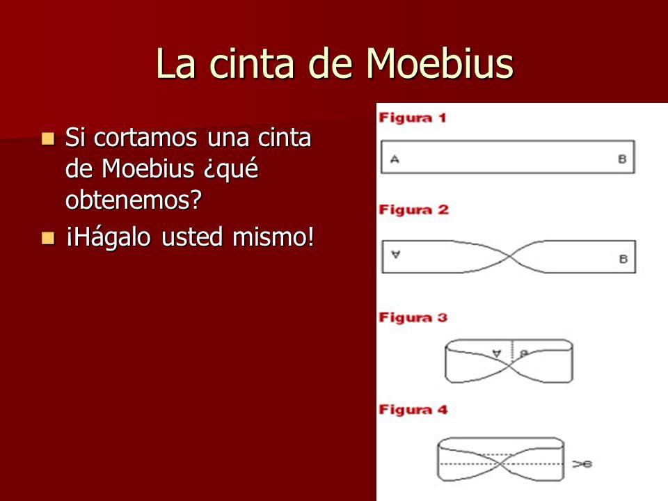 La cinta de Moebius Si cortamos una cinta de Moebius ¿qué obtenemos? Si cortamos una cinta de Moebius ¿qué obtenemos? ¡Hágalo usted mismo! ¡Hágalo ust