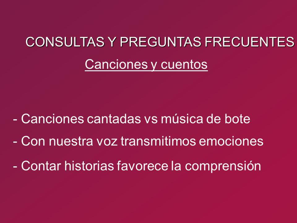 CONSULTAS Y PREGUNTAS FRECUENTES - Canciones cantadas vs música de bote - Con nuestra voz transmitimos emociones Canciones y cuentos - Contar historia