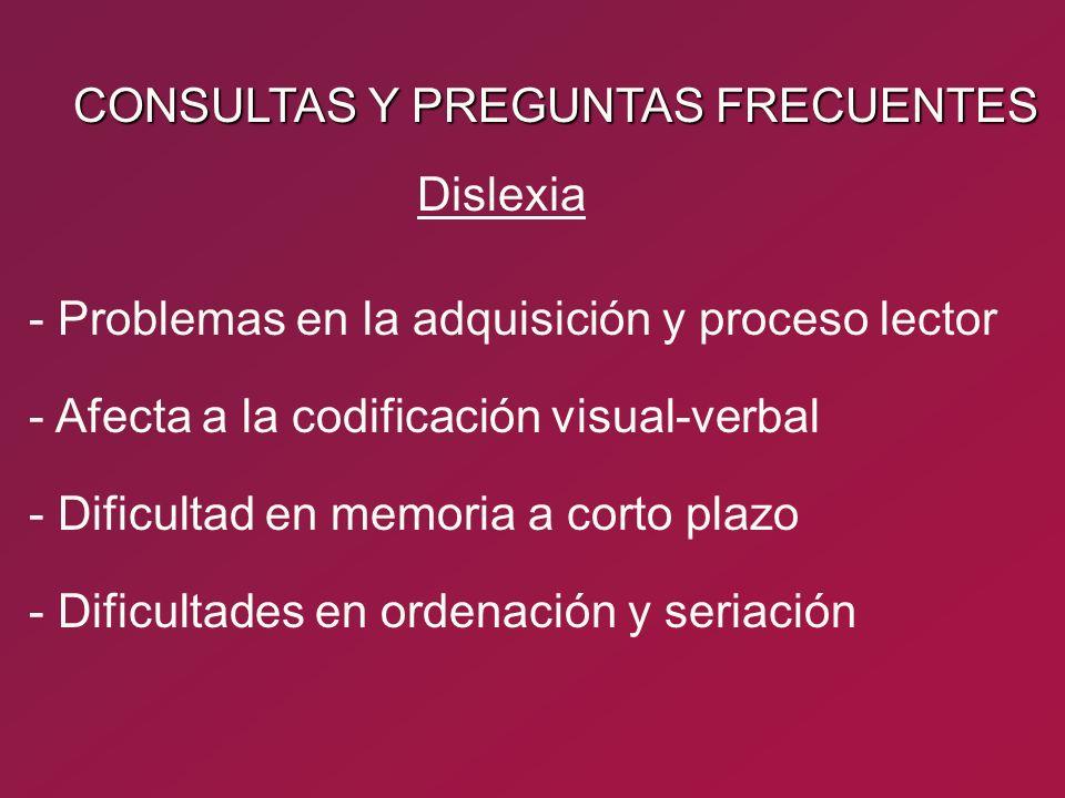 CONSULTAS Y PREGUNTAS FRECUENTES - Problemas en la adquisición y proceso lector - Afecta a la codificación visual-verbal Dislexia - Dificultad en memo