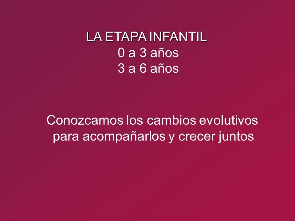 LA ETAPA INFANTIL 0 a 3 años 3 a 6 años Conozcamos los cambios evolutivos para acompañarlos y crecer juntos