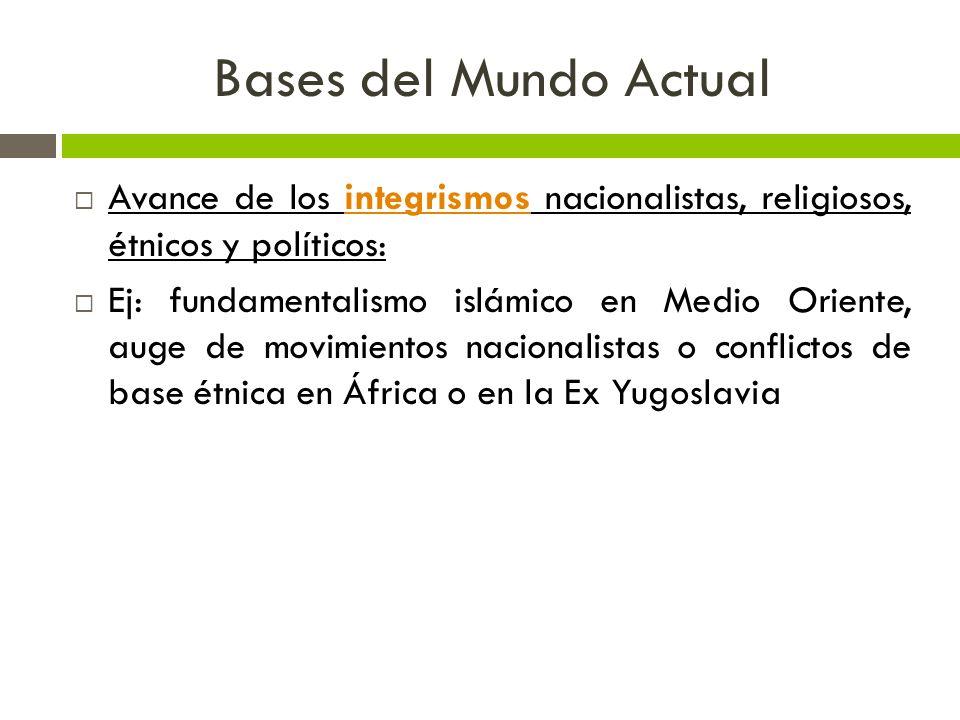 Bases del Mundo Actual Avance de los integrismos nacionalistas, religiosos, étnicos y políticos:integrismos Ej: fundamentalismo islámico en Medio Orie