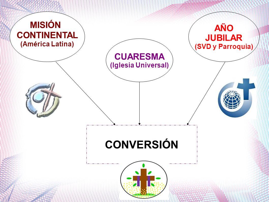 MISIÓN CONTINENTAL (América Latina) AÑO JUBILAR (SVD y Parroquia) CUARESMA (Iglesia Universal) CONVERSIÓN
