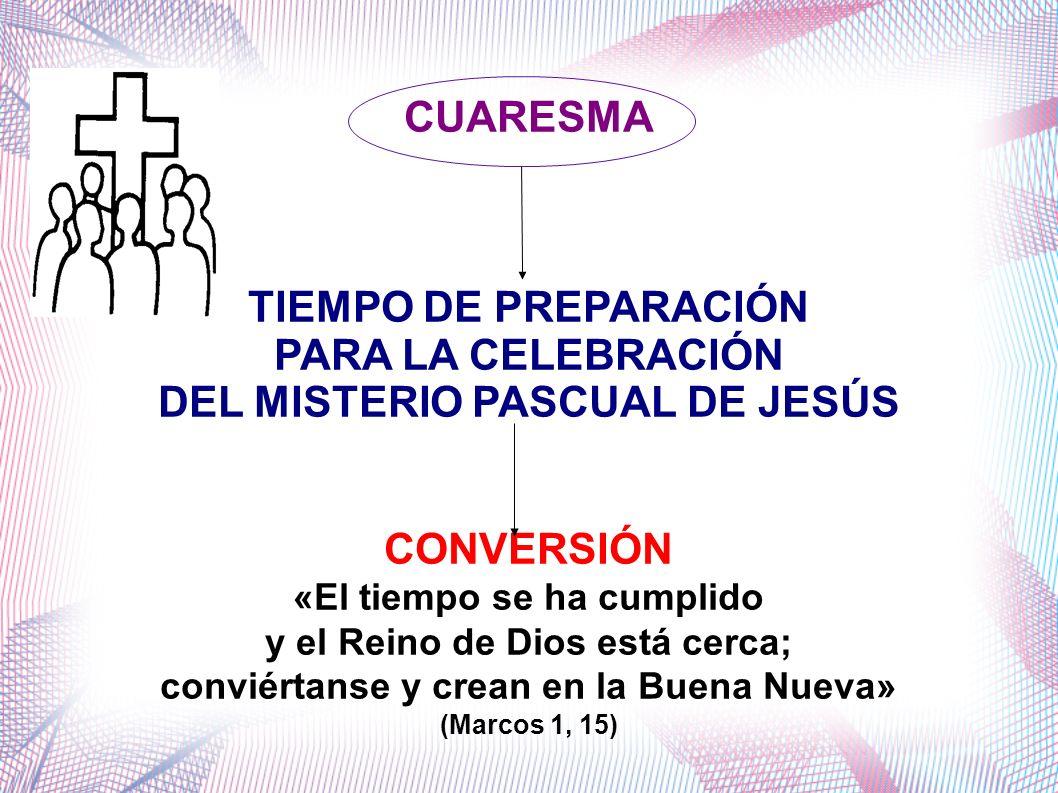 CUARESMA TIEMPO DE PREPARACIÓN PARA LA CELEBRACIÓN DEL MISTERIO PASCUAL DE JESÚS CONVERSIÓN «El tiempo se ha cumplido y el Reino de Dios está cerca; c