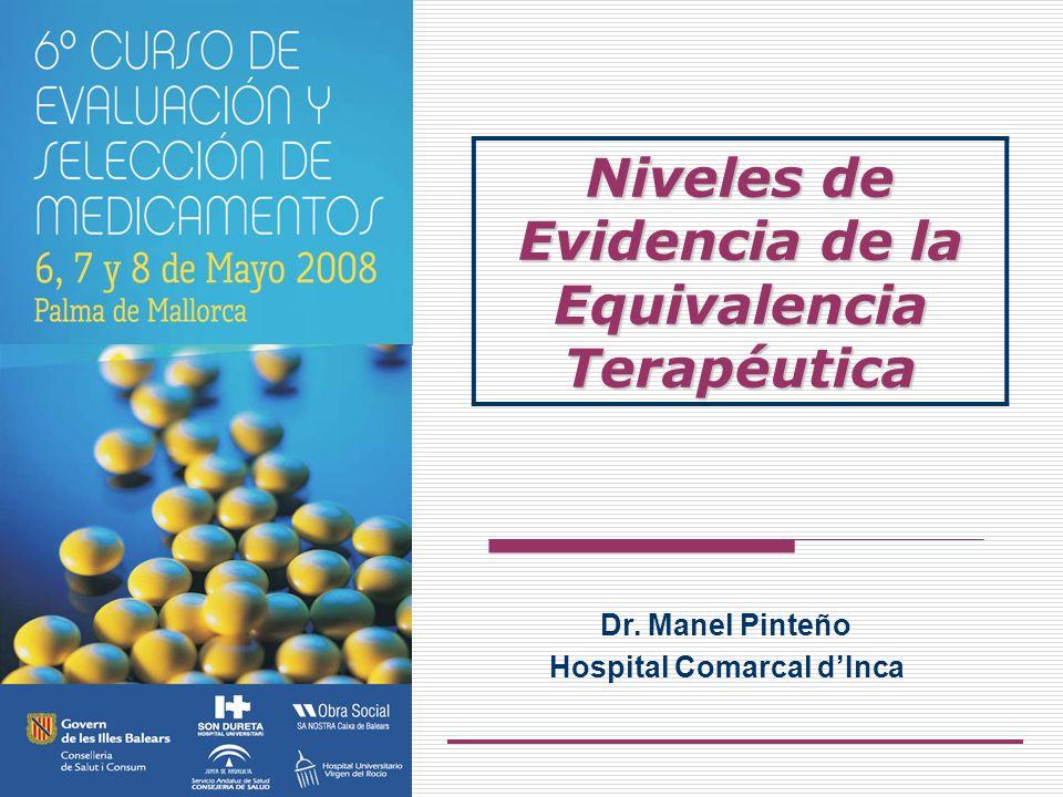 Dr. Manel Pinteño Hospital Comarcal dInca Niveles de Evidencia de la Equivalencia Terapéutica