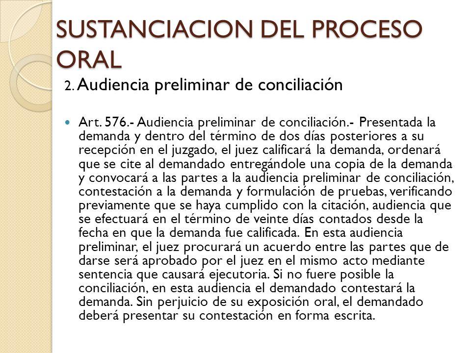 SUSTANCIACION DEL PROCESO ORAL 2. Audiencia preliminar de conciliación Art. 576.- Audiencia preliminar de conciliación.- Presentada la demanda y dentr