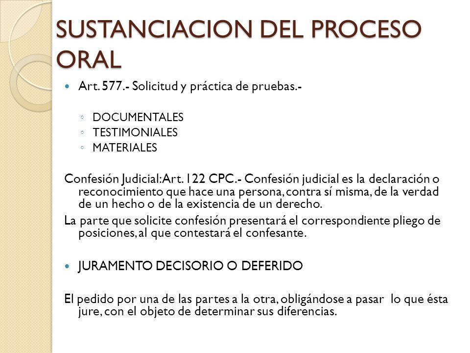 SUSTANCIACION DEL PROCESO ORAL Art. 577.- Solicitud y práctica de pruebas.- DOCUMENTALES TESTIMONIALES MATERIALES Confesión Judicial: Art. 122 CPC.- C