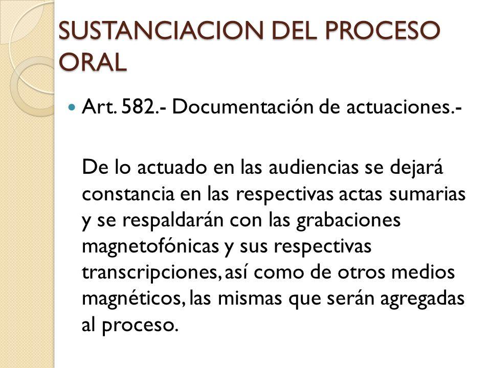 SUSTANCIACION DEL PROCESO ORAL Art. 582.- Documentación de actuaciones.- De lo actuado en las audiencias se dejará constancia en las respectivas actas